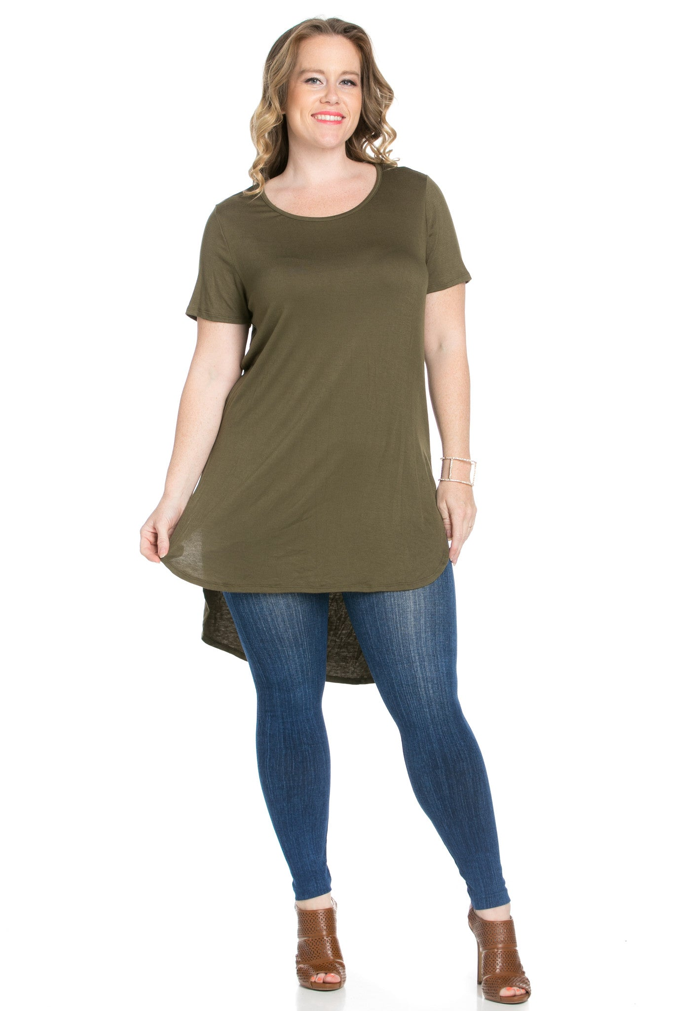 Olive Plus Size High-low Scoop Neck Shirt - Blouses - My Yuccie - 6