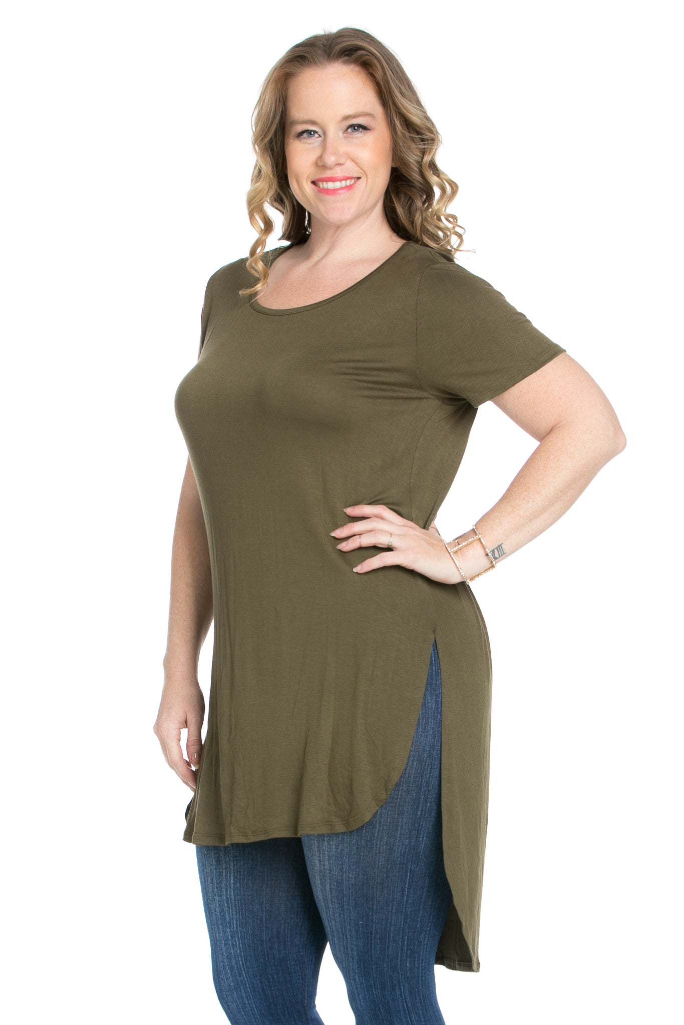 Olive Plus Size High-low Scoop Neck Shirt - Blouses - My Yuccie - 5