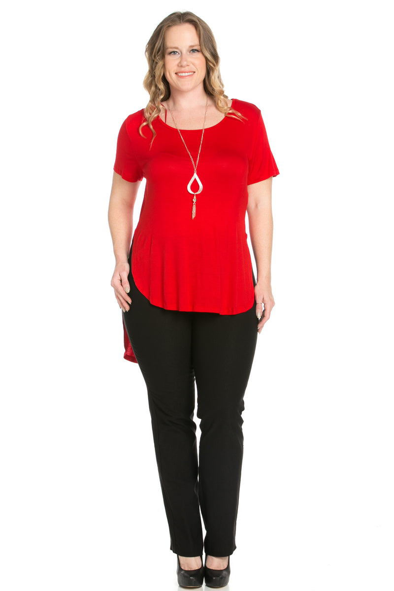 Crew Neck Casual  High Low Red T-Blouse - Blouses - My Yuccie - 2