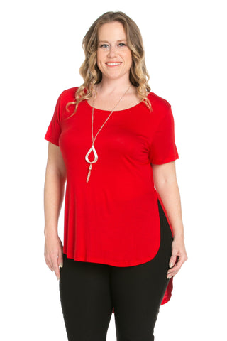 Crew Neck Casual  High Low Red T-Blouse - Blouses - My Yuccie - 1