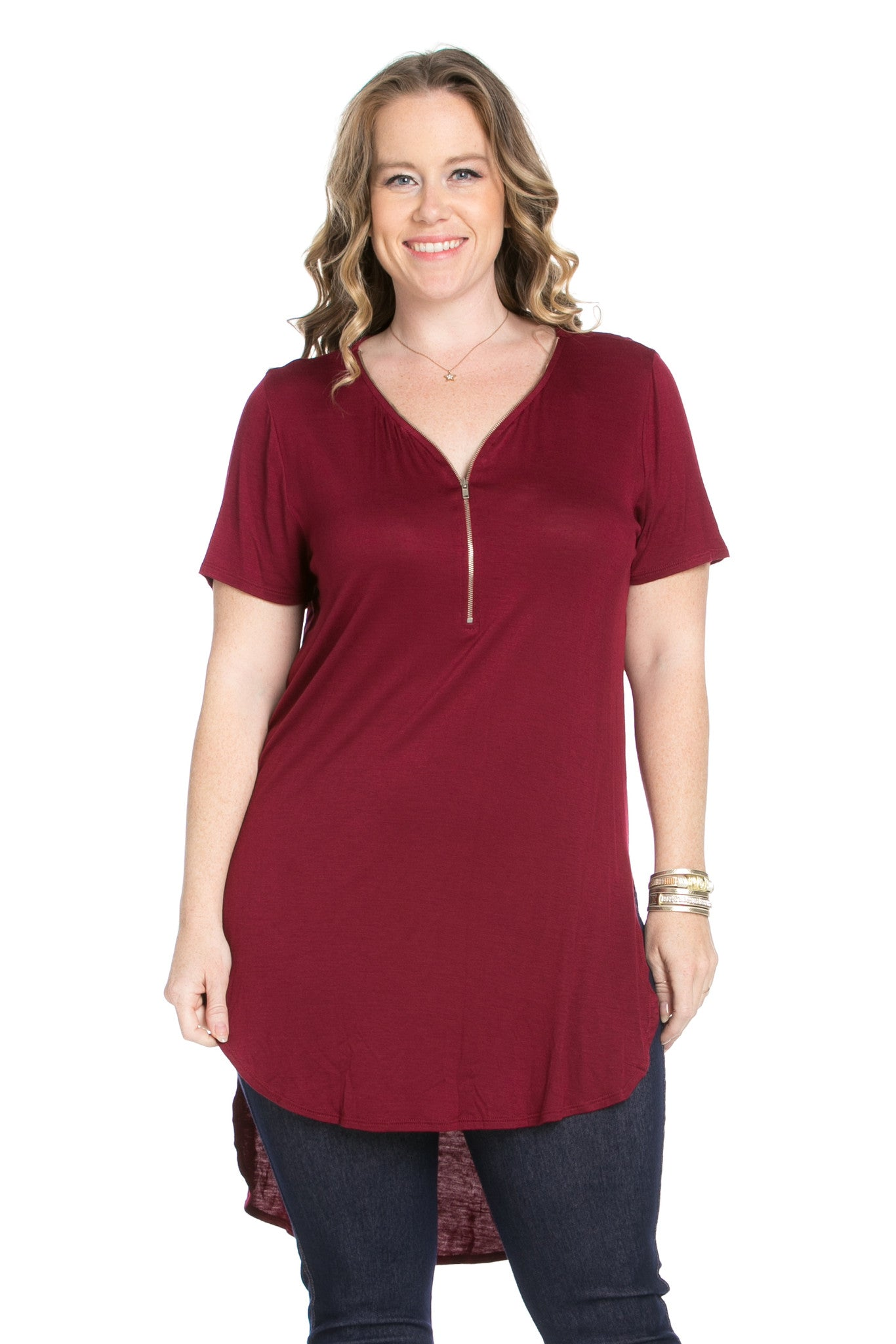 Burgundy Zipper Party In The Front - Blouses - My Yuccie - 2