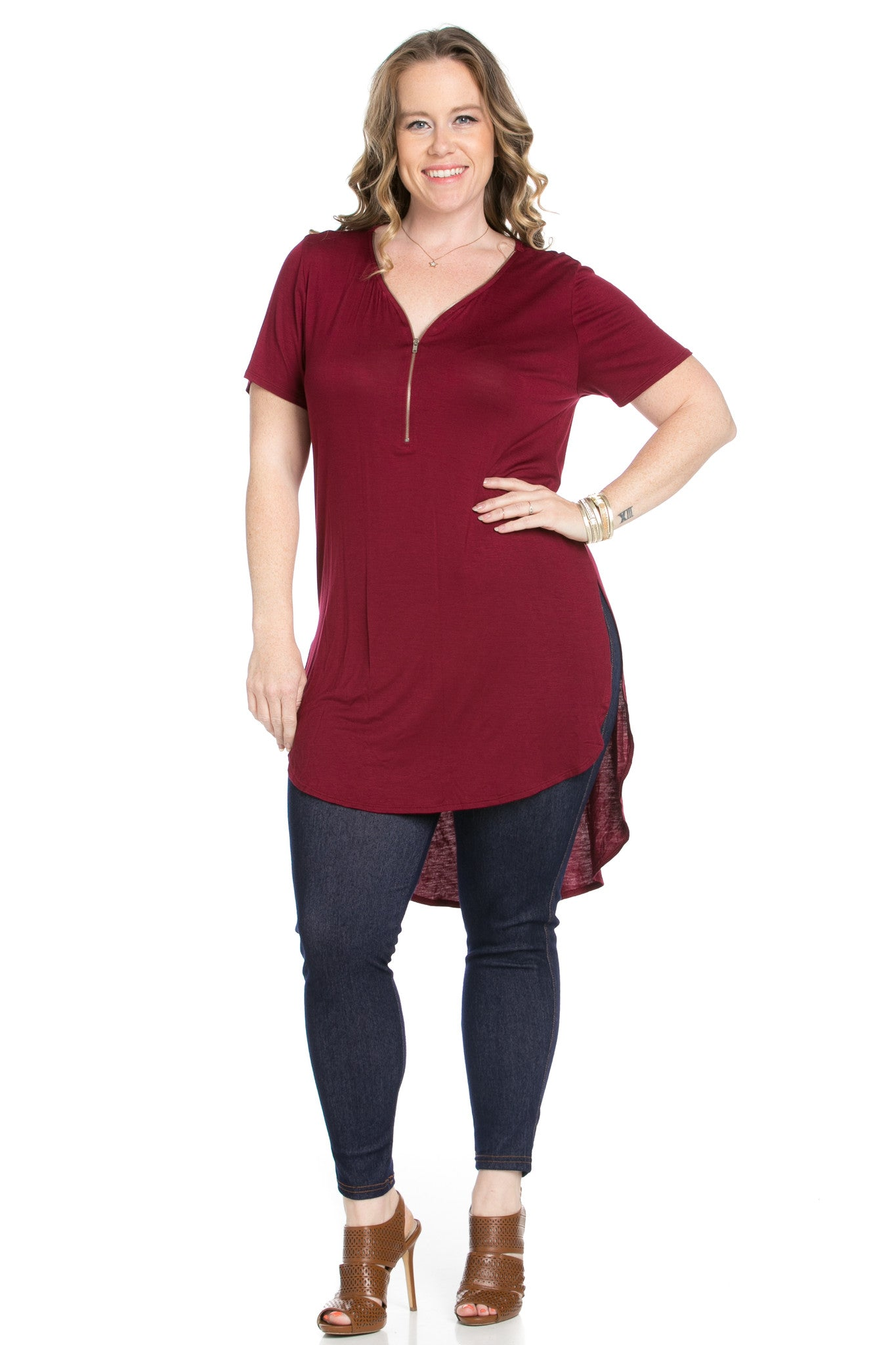 Burgundy Zipper Party In The Front - Blouses - My Yuccie - 3