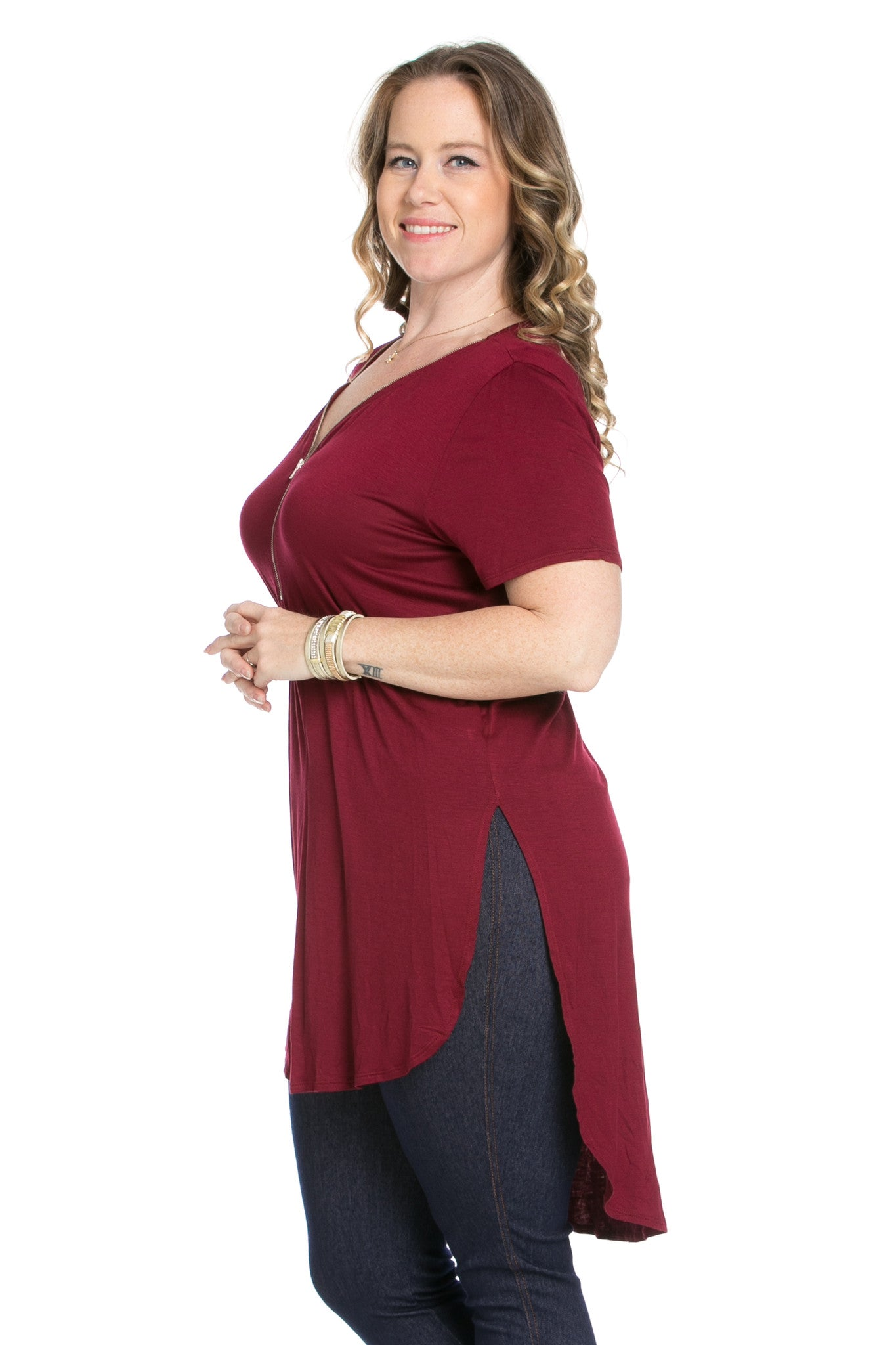 Burgundy Zipper Party In The Front - Blouses - My Yuccie - 1