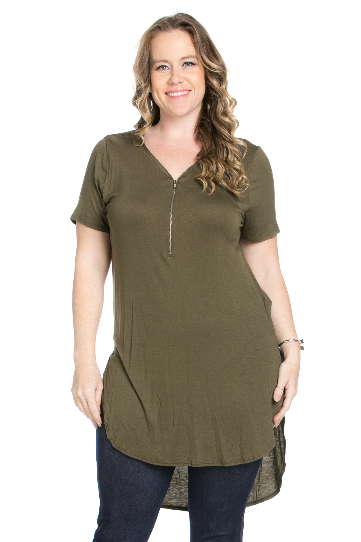 Olive Zipper Party In The Front - Blouses - My Yuccie - 1