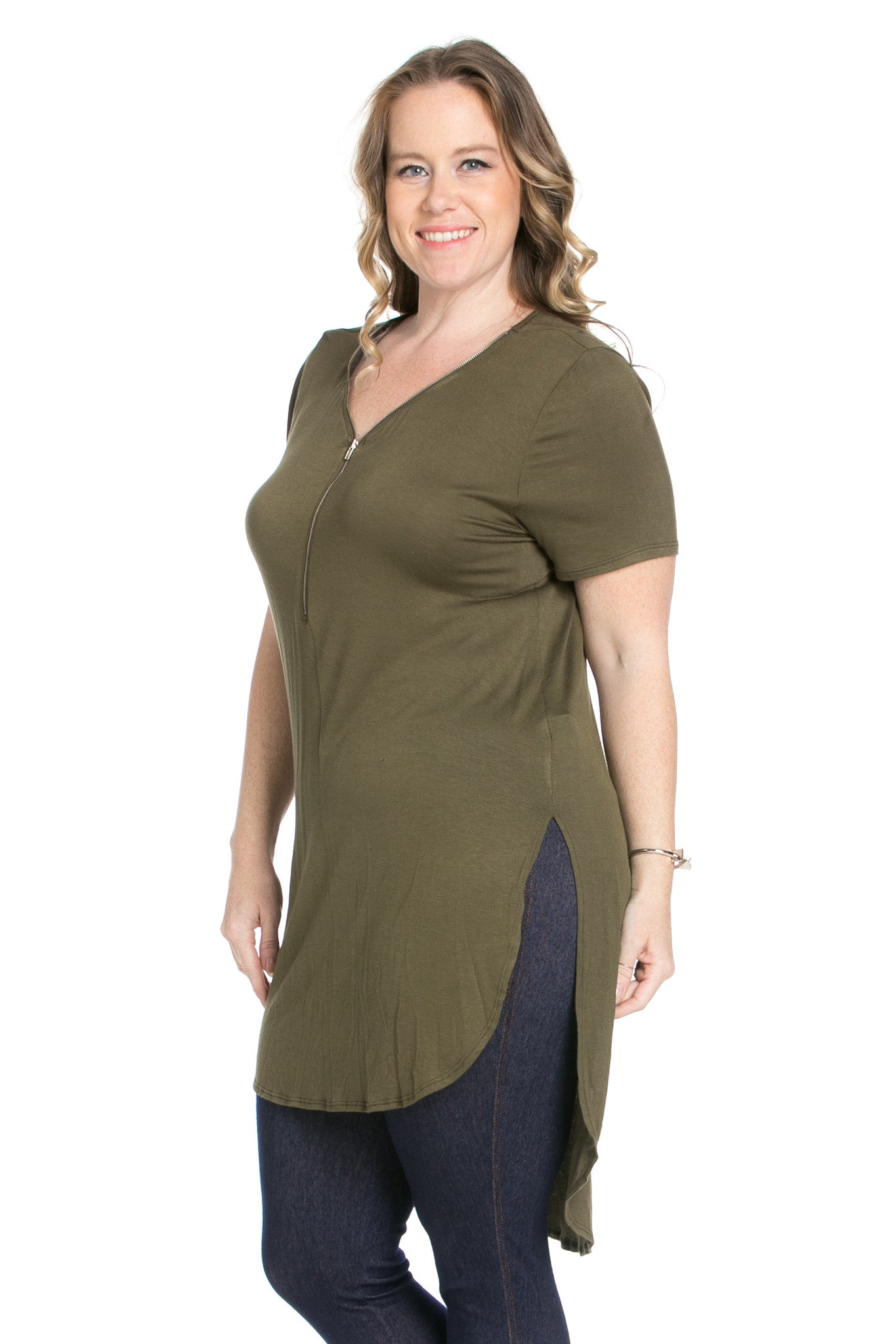 Olive Zipper Party In The Front - Blouses - My Yuccie - 2