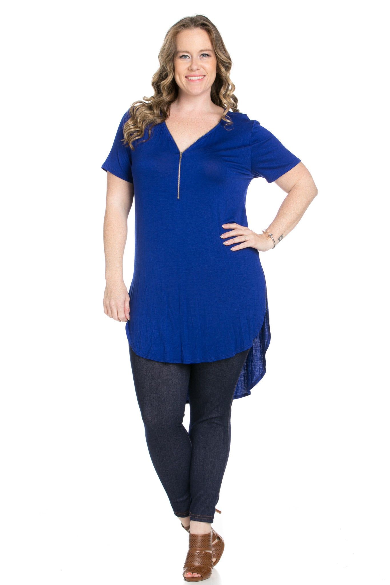 Blue Zipper Party In The Front - Blouses - My Yuccie - 2