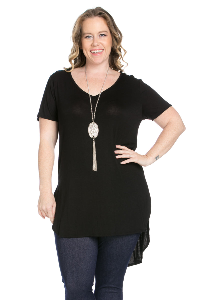 Casual High Low Black V-Neck Shirt - Blouses - My Yuccie - 5