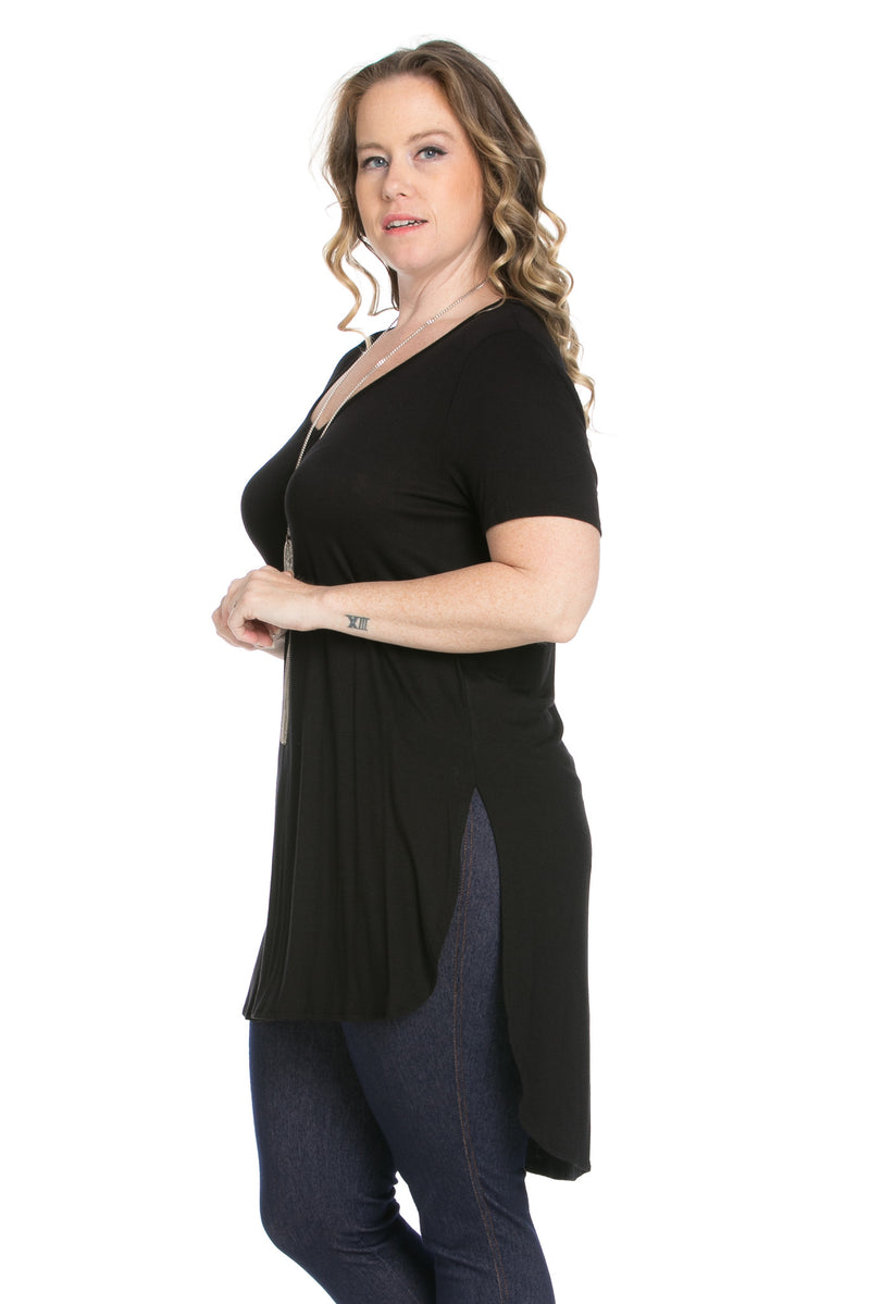 Casual High Low Black V-Neck Shirt - Blouses - My Yuccie - 6