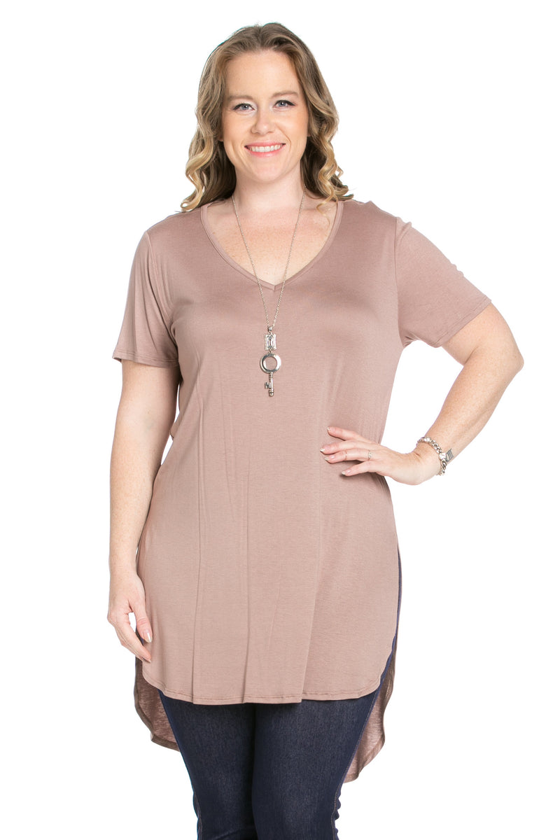 Casual High Low Mocha V-Neck T-Blouse - Blouses - My Yuccie - 4