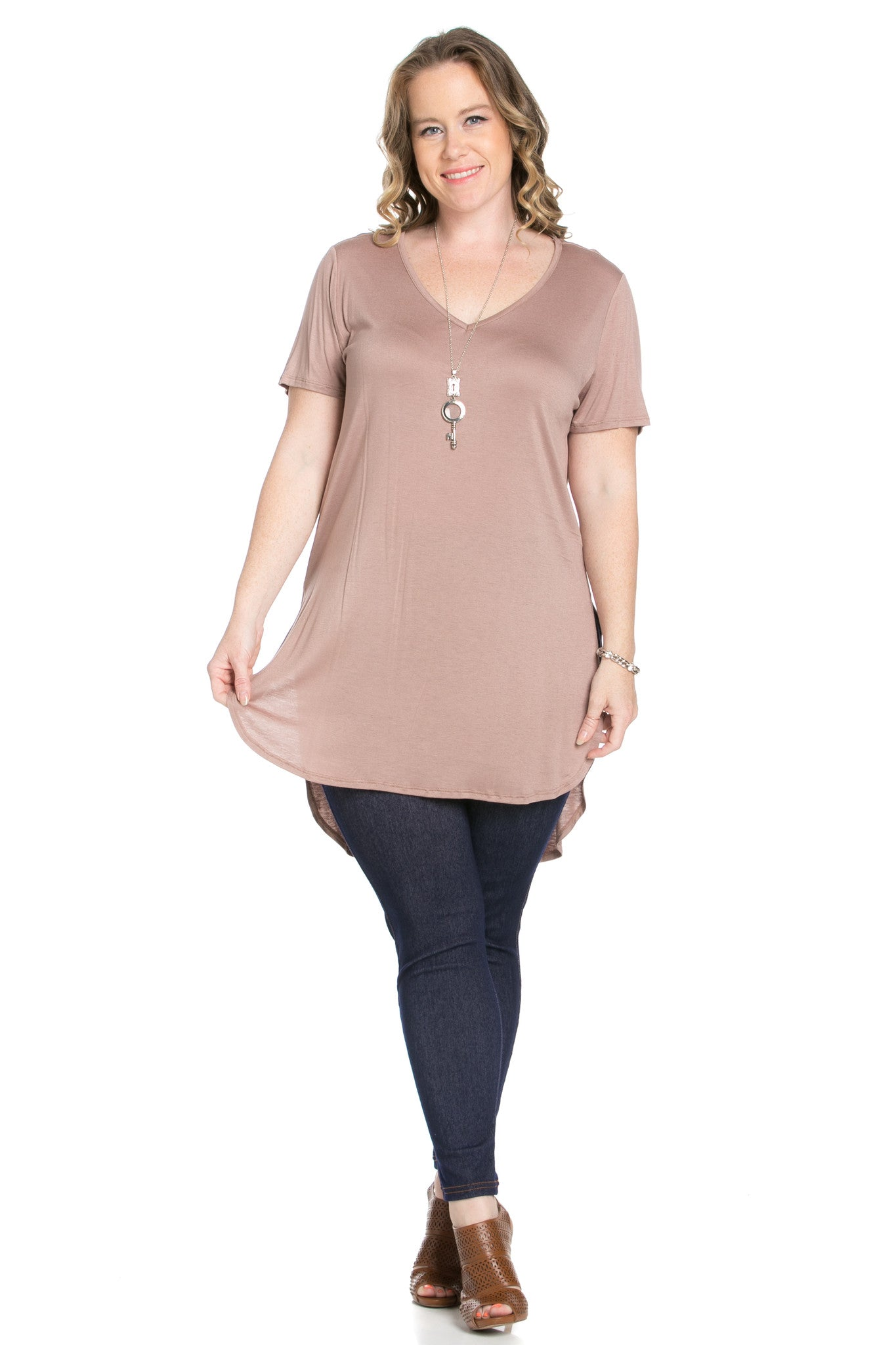 Casual High Low Mocha V-Neck T-Blouse - Blouses - My Yuccie - 5