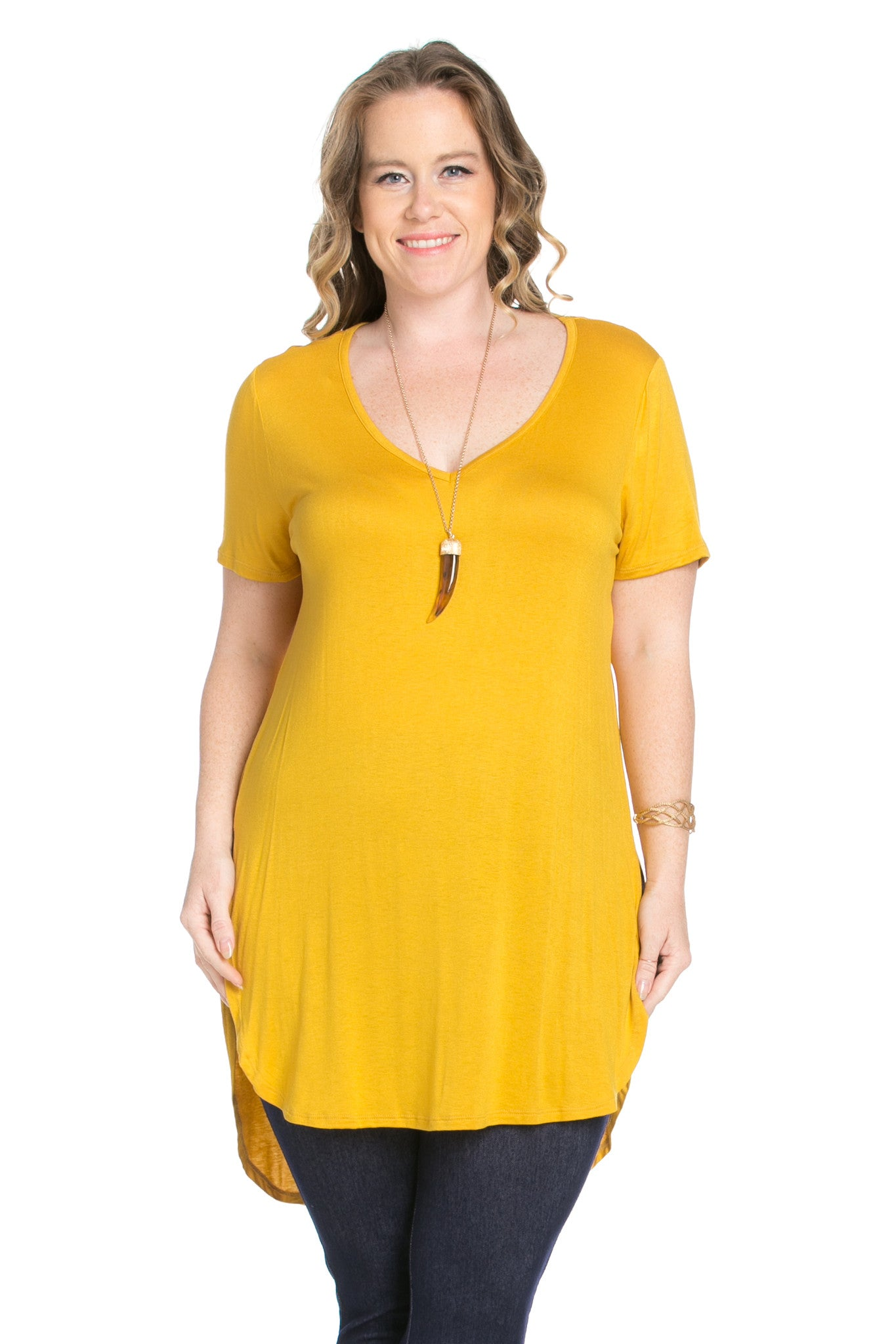 Casual High Low Mustard V-Neck T-Blouse - Blouses - My Yuccie - 4