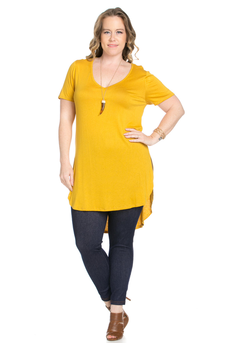 Casual High Low Mustard V-Neck T-Blouse - Blouses - My Yuccie - 5