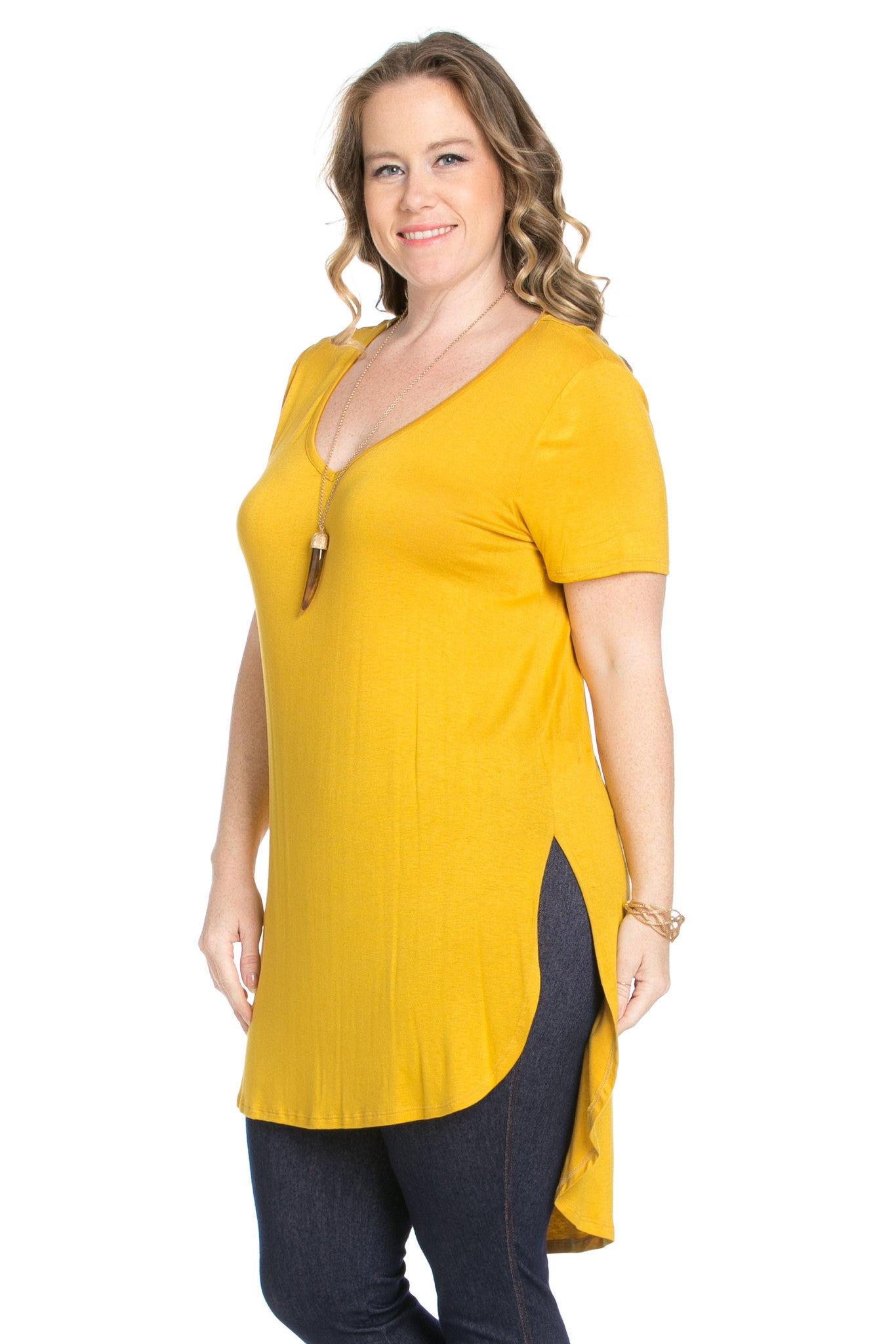 Casual High Low Mustard V-Neck T-Blouse - Blouses - My Yuccie - 6
