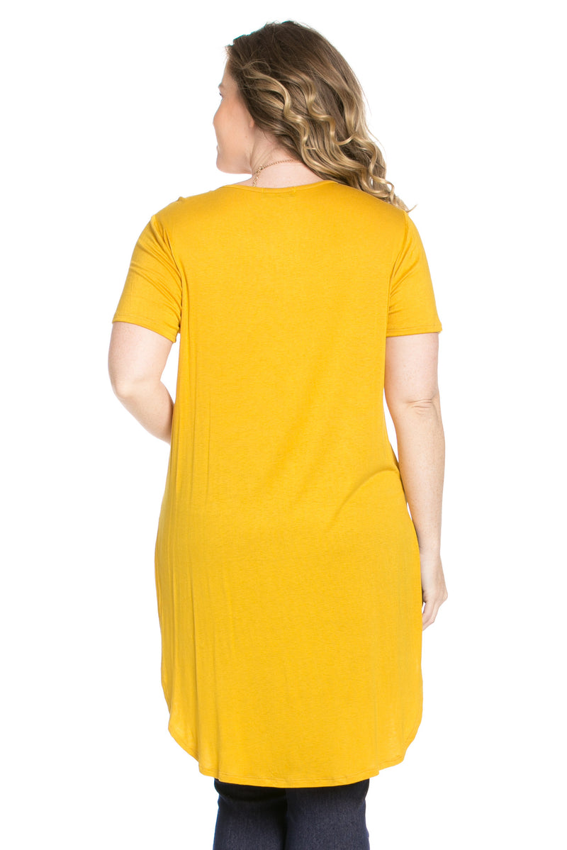 Casual High Low Mustard V-Neck T-Blouse - Blouses - My Yuccie - 7