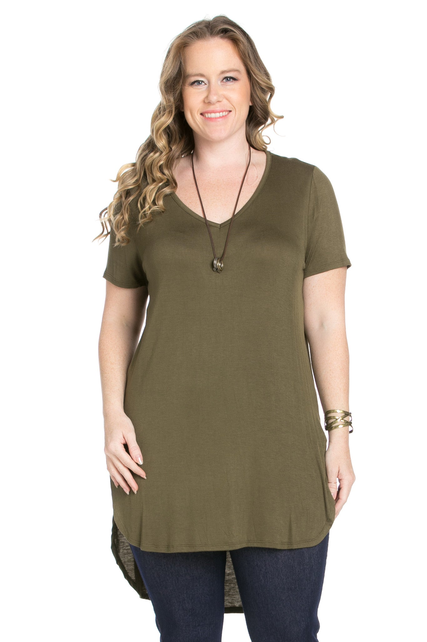 Casual High Low Olive V-Neck T-Blouse - Blouses - My Yuccie - 1