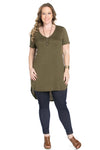 Casual High Low Olive V-Neck T-Blouse - Blouses - My Yuccie - 2