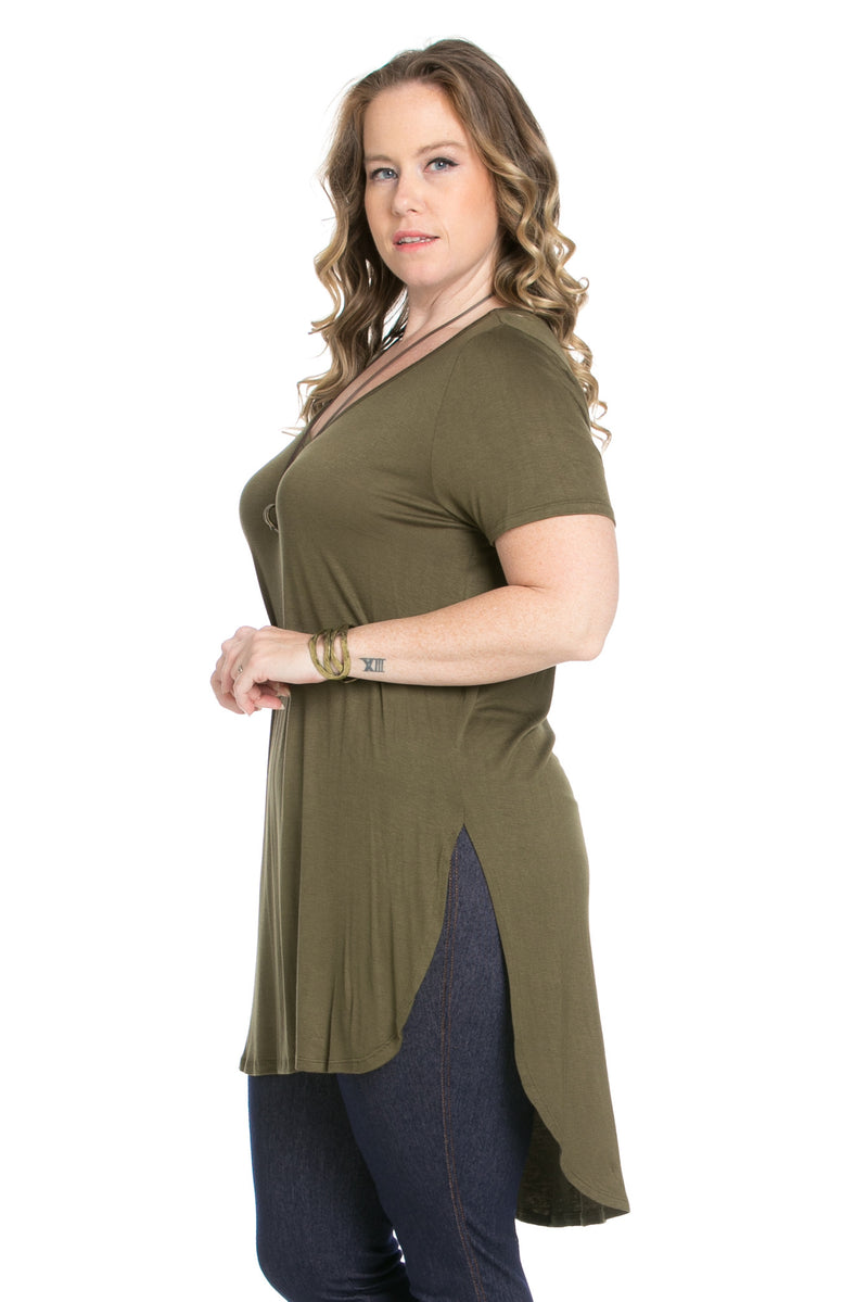 Casual High Low Olive V-Neck T-Blouse - Blouses - My Yuccie - 3