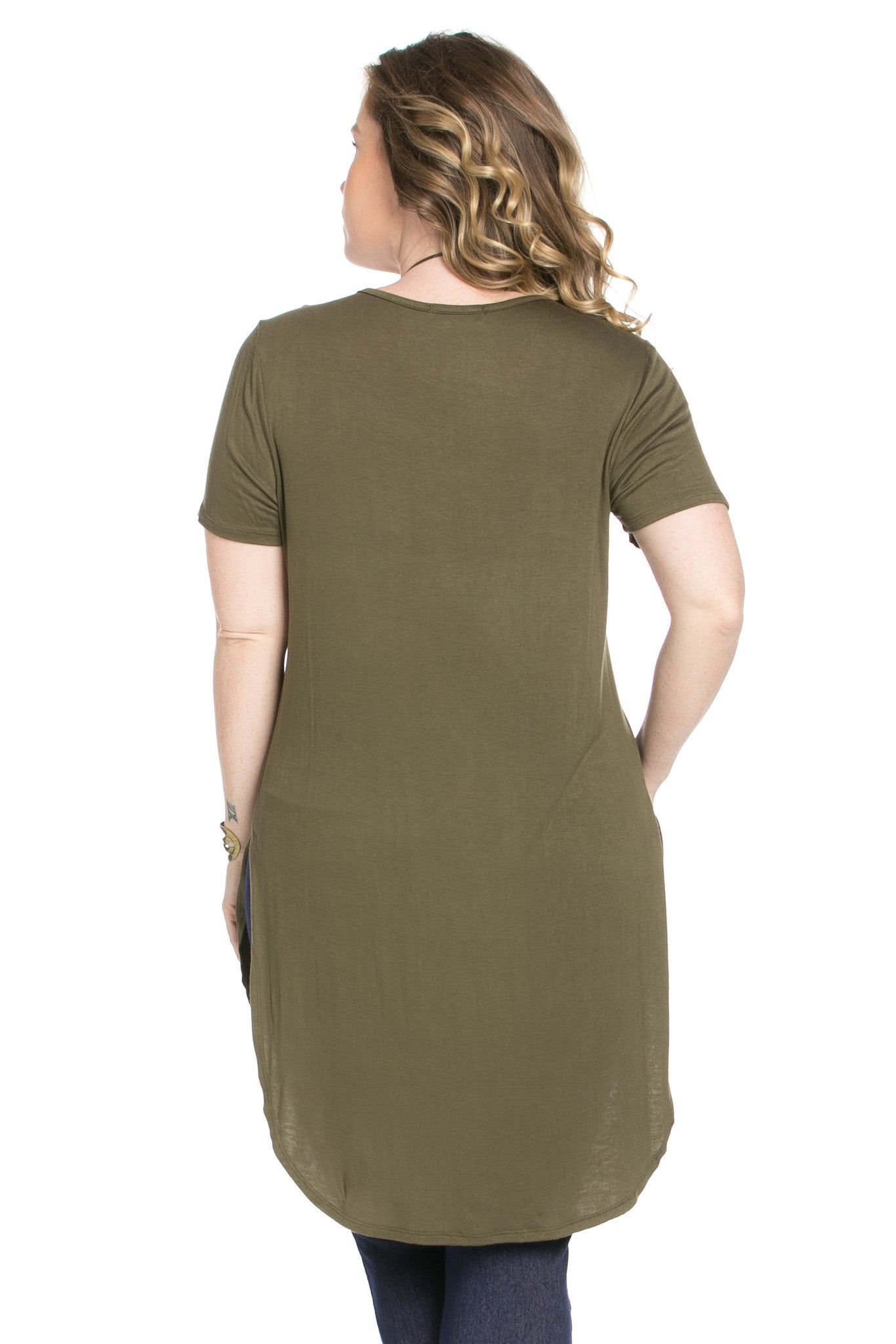 Casual High Low Olive V-Neck T-Blouse - Blouses - My Yuccie - 4
