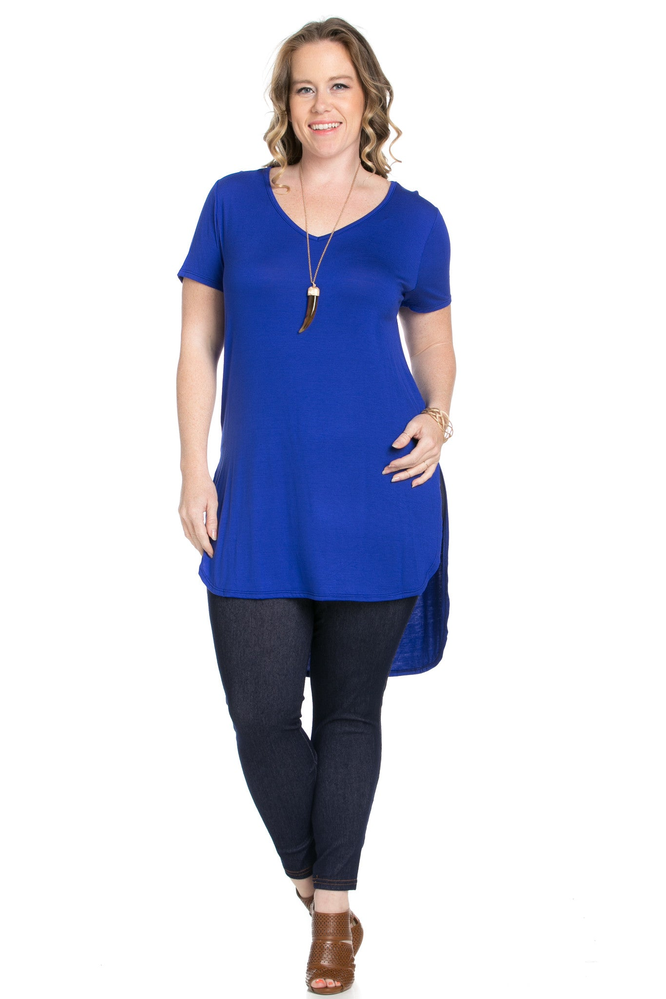 Casual High Low Royal Blue V-Neck T-Blouse - Blouses - My Yuccie - 4