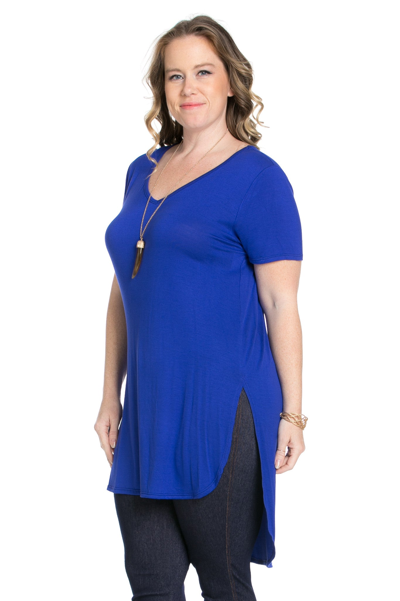 Casual High Low Royal Blue V-Neck T-Blouse - Blouses - My Yuccie - 5