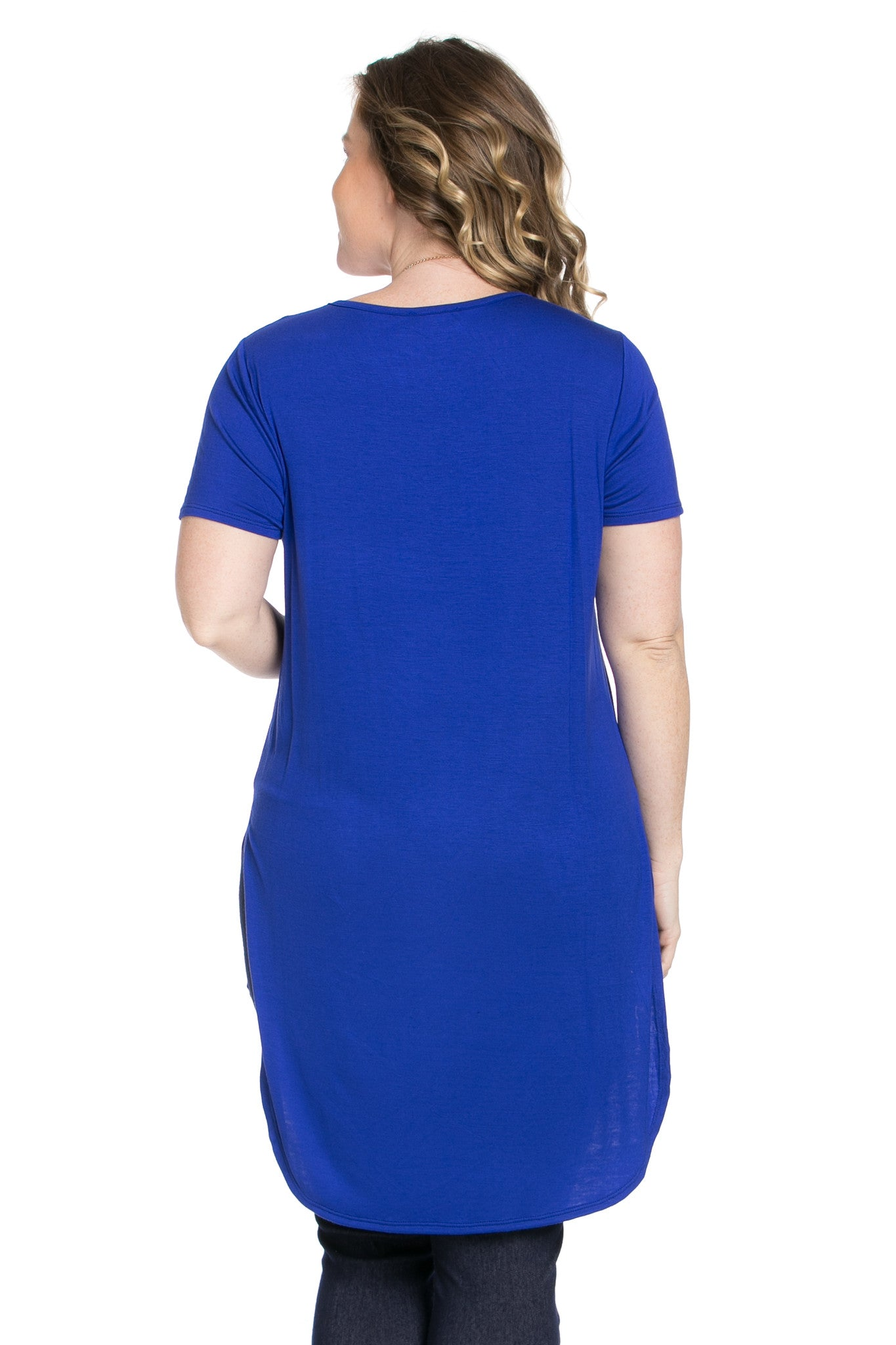 Casual High Low Royal Blue V-Neck T-Blouse - Blouses - My Yuccie - 6