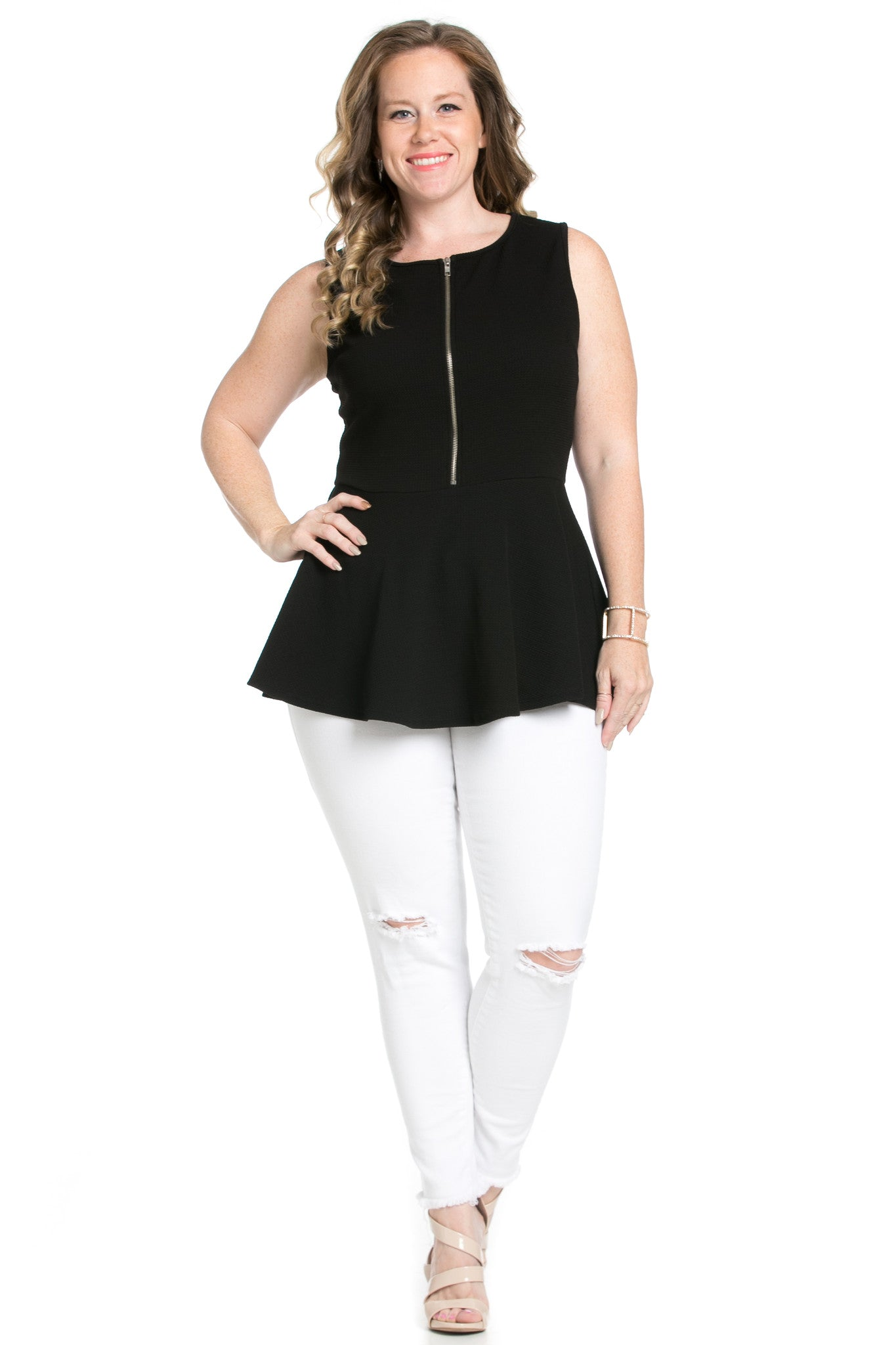 Zipper Front Peplum Black Top - Blouses - My Yuccie - 3