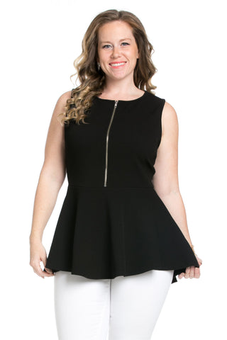 Zipper Front Peplum Black Top - Blouses - My Yuccie - 1