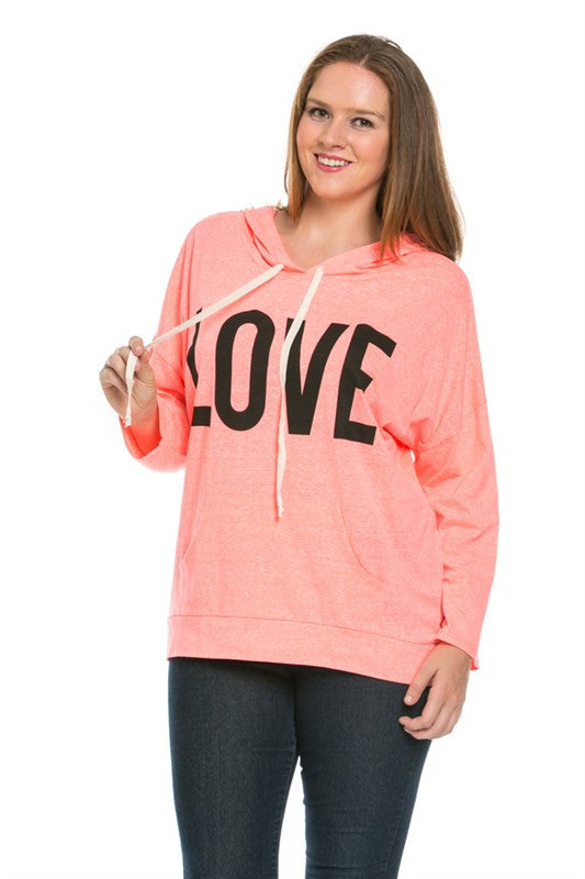 Love Neon Coral Hoodie Sweater Top - Sweaters - My Yuccie - 1