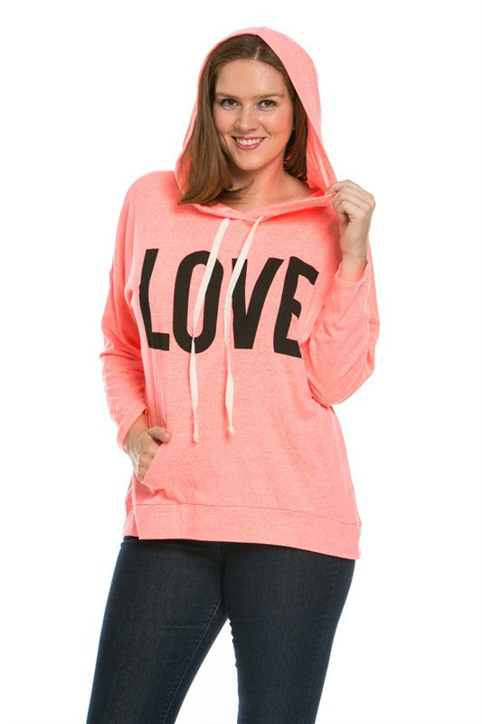 Love Neon Coral Hoodie Sweater Top - Sweaters - My Yuccie - 2