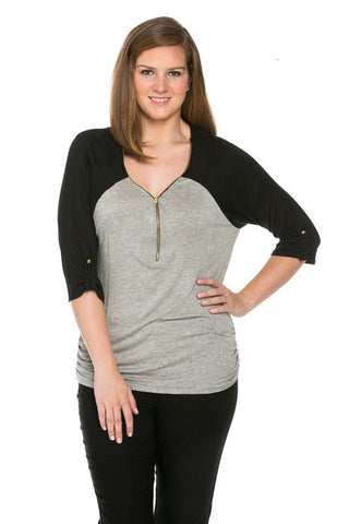 Zippered Front Two Tone H.Grey/Black Top - Blouses - My Yuccie - 1
