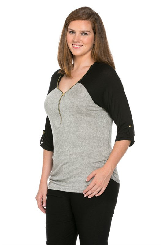 Zippered Front Two Tone H.Grey/Black Top - Blouses - My Yuccie - 2