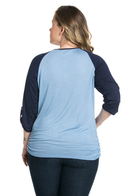 Zippered Front Two Tone Light Blue/Navy Top - Blouses - My Yuccie - 2