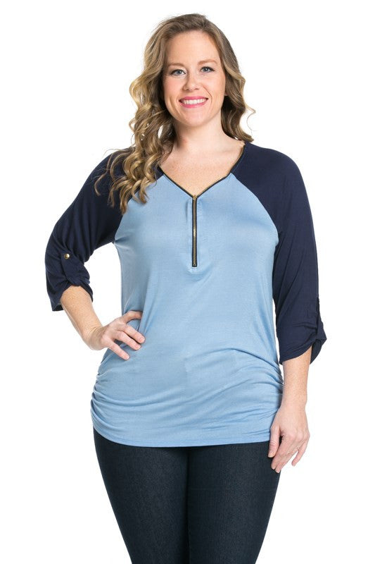 Zippered Front Two Tone Light Blue/Navy Top - Blouses - My Yuccie - 1