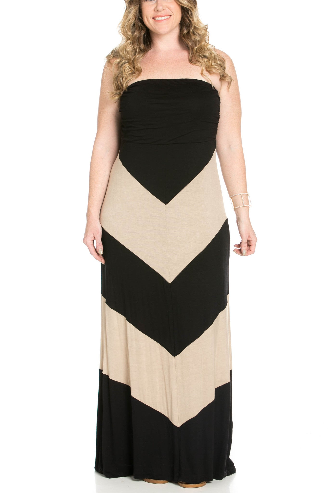 Strapless Long tube Dress  Black/Taupe Cause You're Chevron - Dresses - My Yuccie - 5