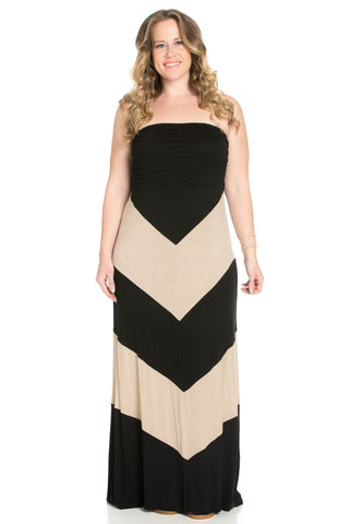 Strapless Long tube Dress  Black/Taupe Cause You're Chevron - Dresses - My Yuccie - 1