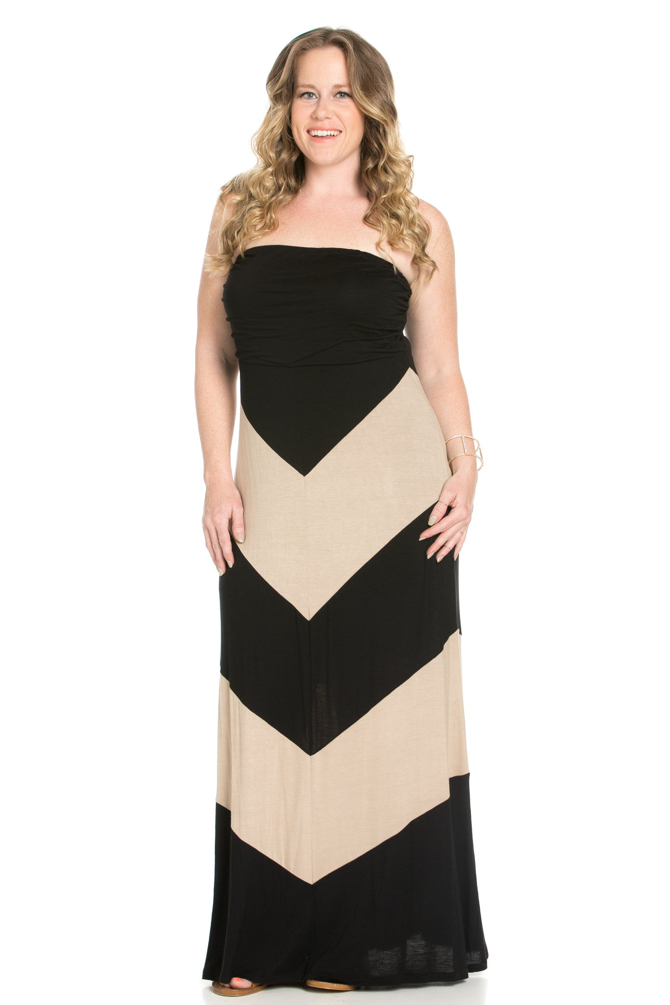 Strapless Long tube Dress  Black/Taupe Cause You're Chevron - Dresses - My Yuccie - 3