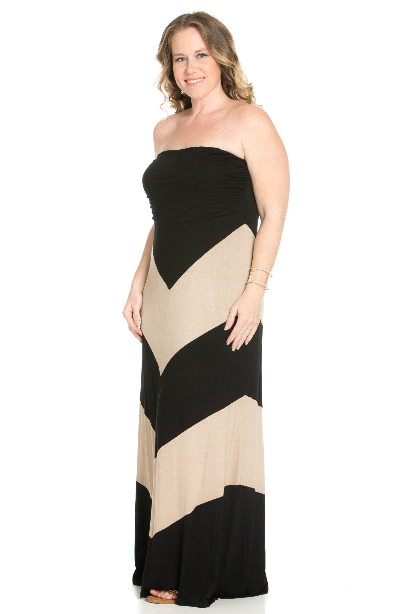 Strapless Long tube Dress  Black/Taupe Cause You're Chevron - Dresses - My Yuccie - 2