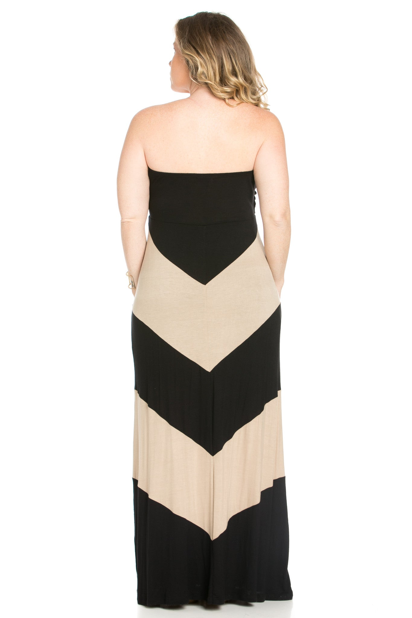 Strapless Long tube Dress  Black/Taupe Cause You're Chevron - Dresses - My Yuccie - 4