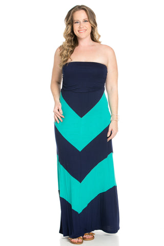 Strapless Long tube Dress Cause You're Chevron - Dresses - My Yuccie - 1