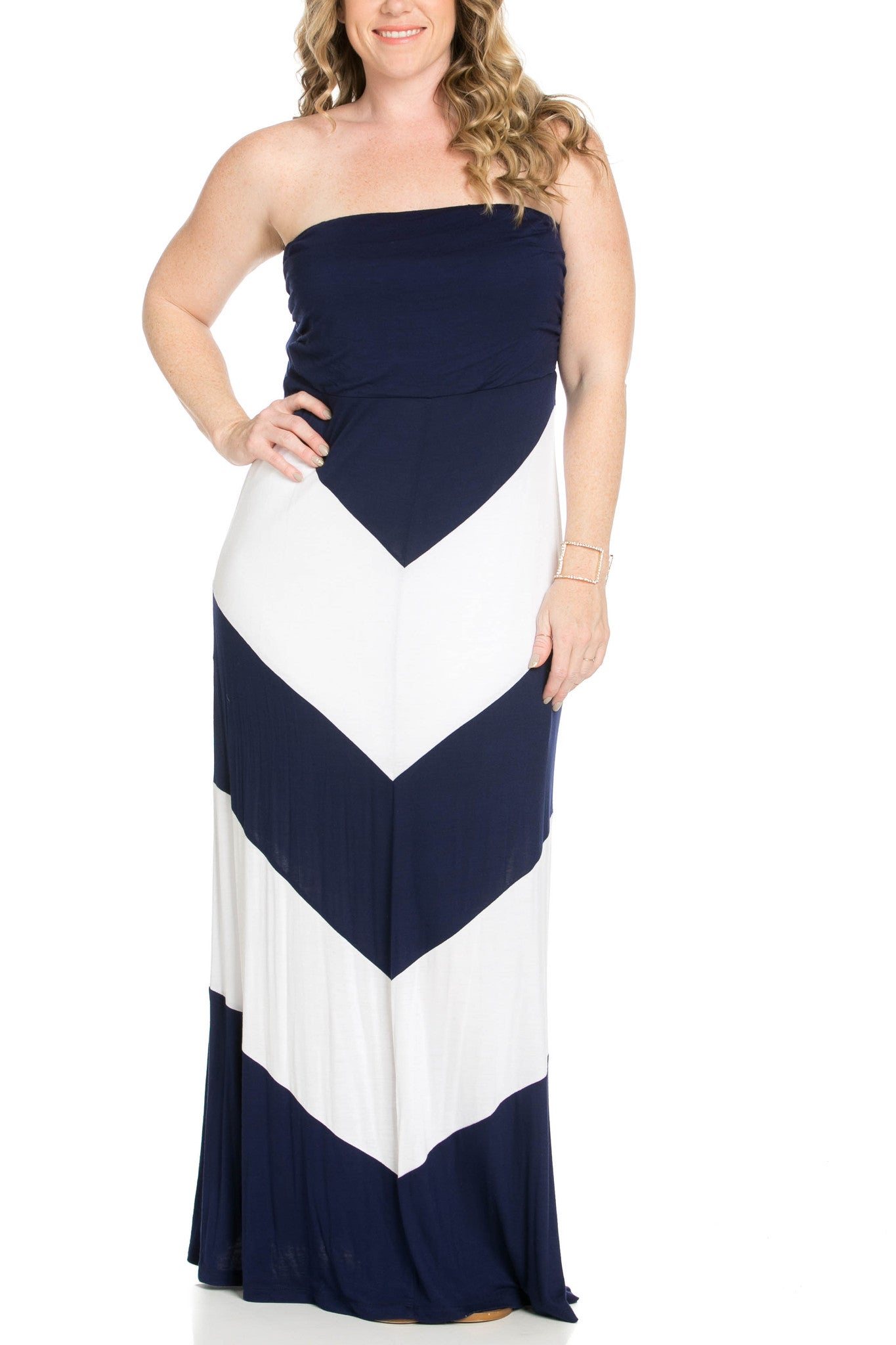 Strapless Long tube Dress Navy/White Cause You're Chevron - Dresses - My Yuccie - 7