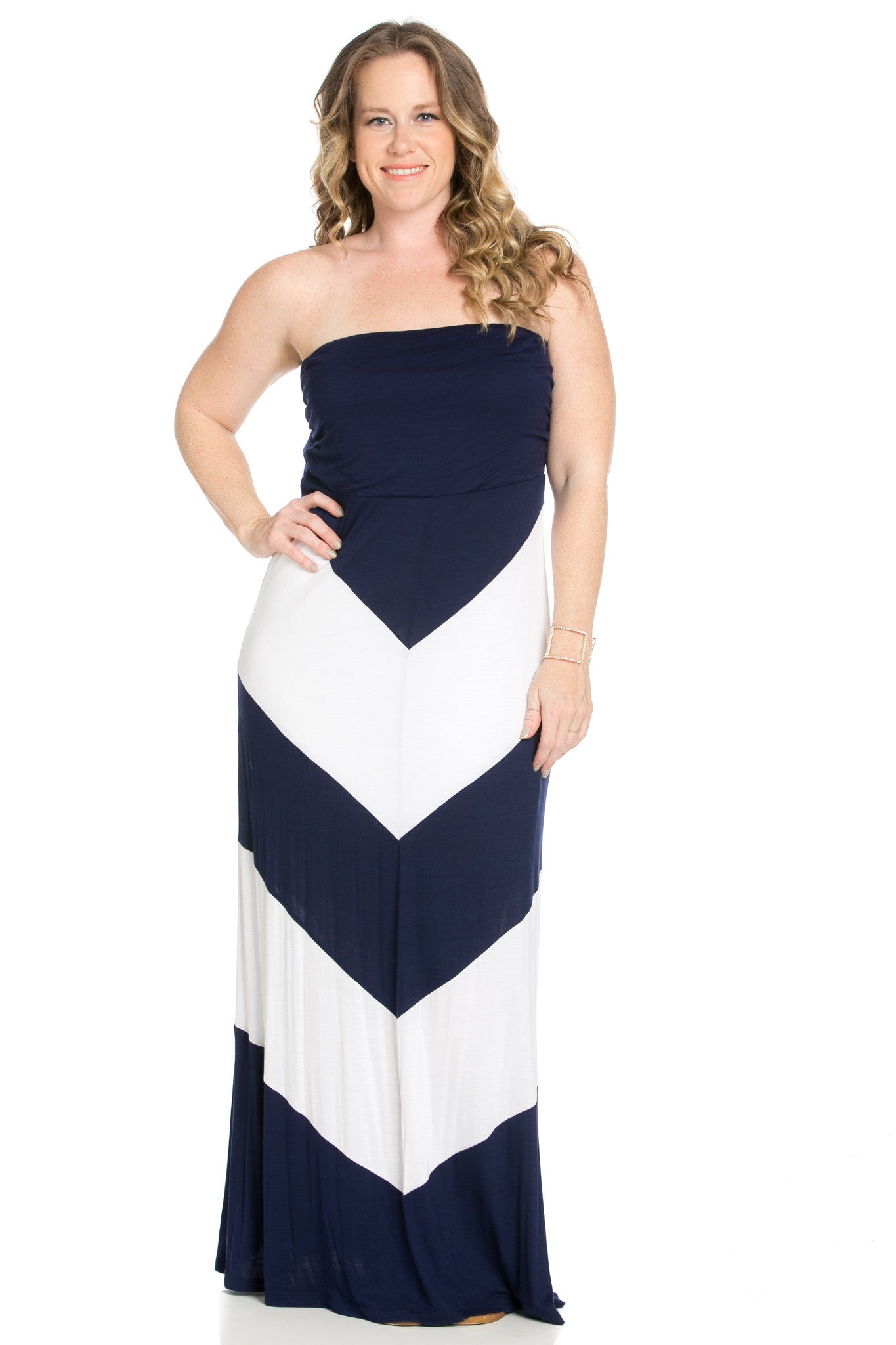 Strapless Long tube Dress Navy/White Cause You're Chevron - Dresses - My Yuccie - 5