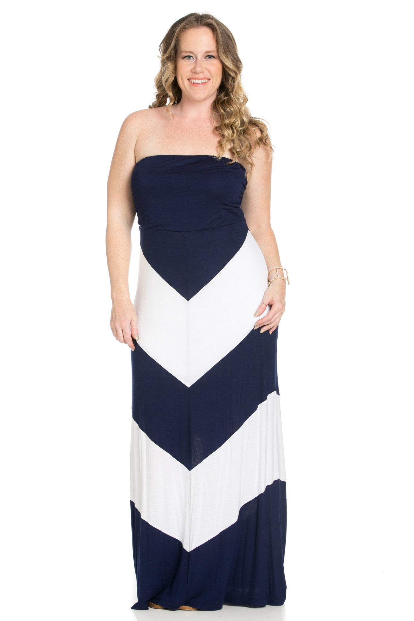 Strapless Long tube Dress Navy/White Cause You're Chevron - Dresses - My Yuccie - 4