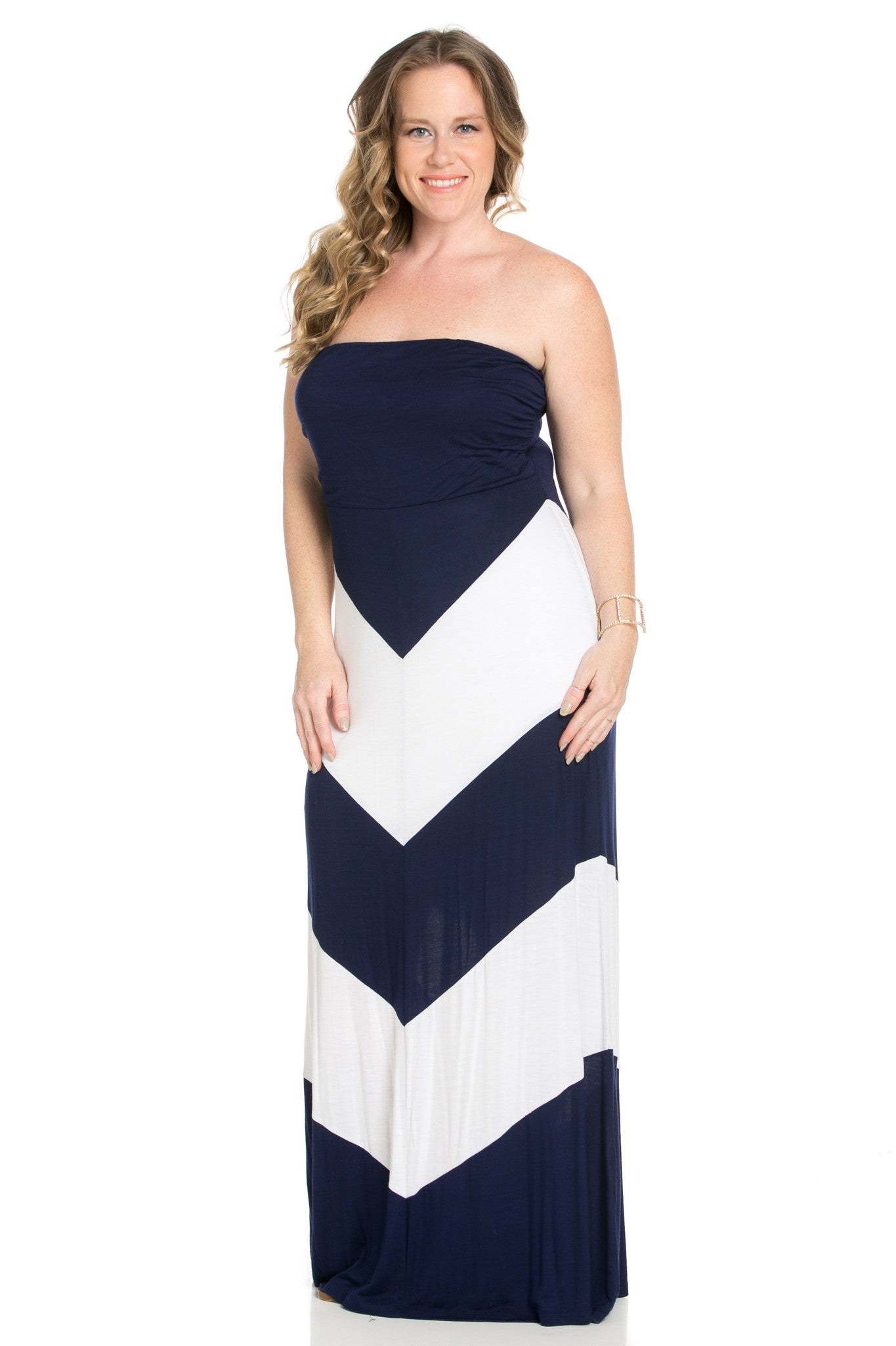 Strapless Long tube Dress Navy/White Cause You're Chevron - Dresses - My Yuccie - 6