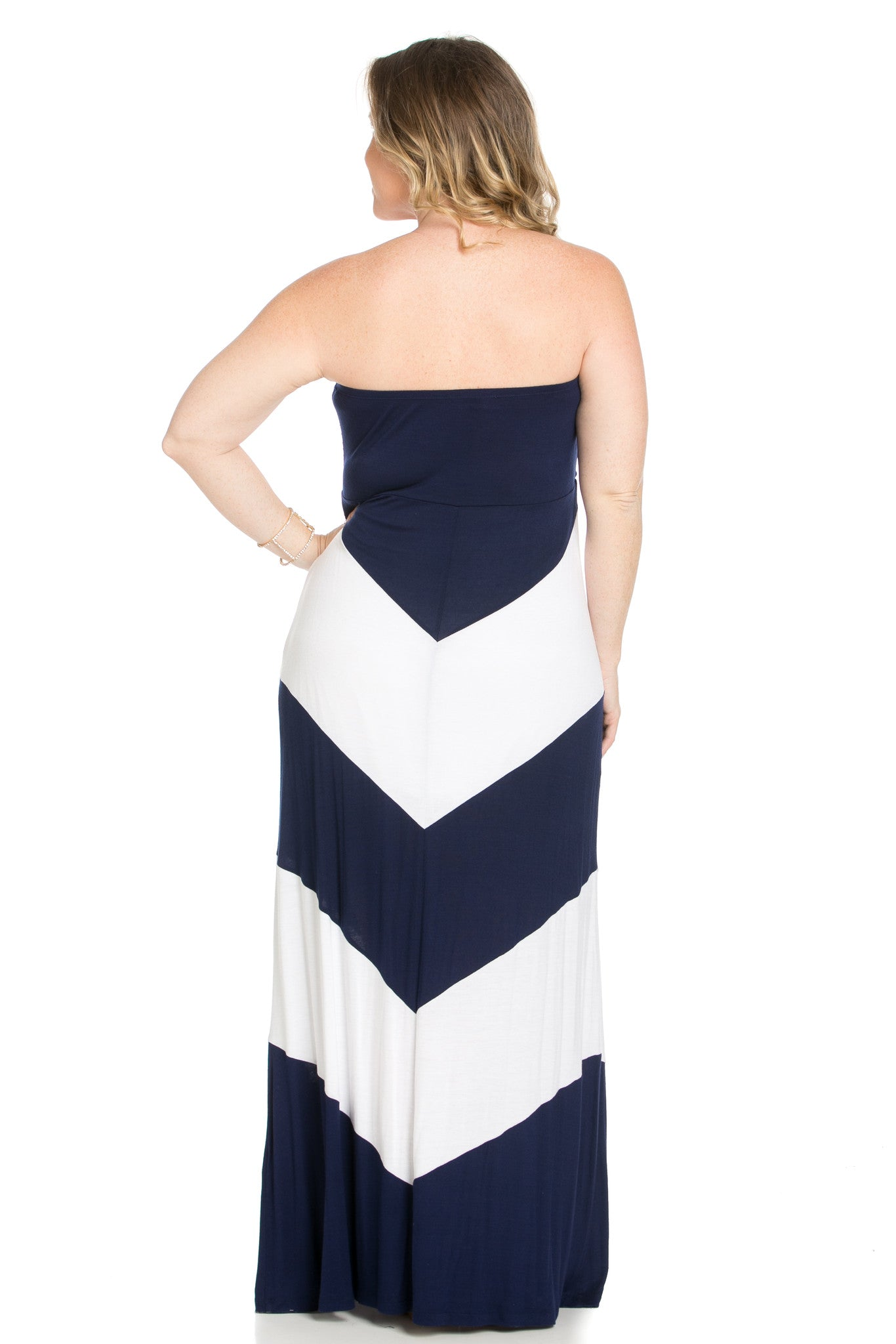 Strapless Long tube Dress Navy/White Cause You're Chevron - Dresses - My Yuccie - 8