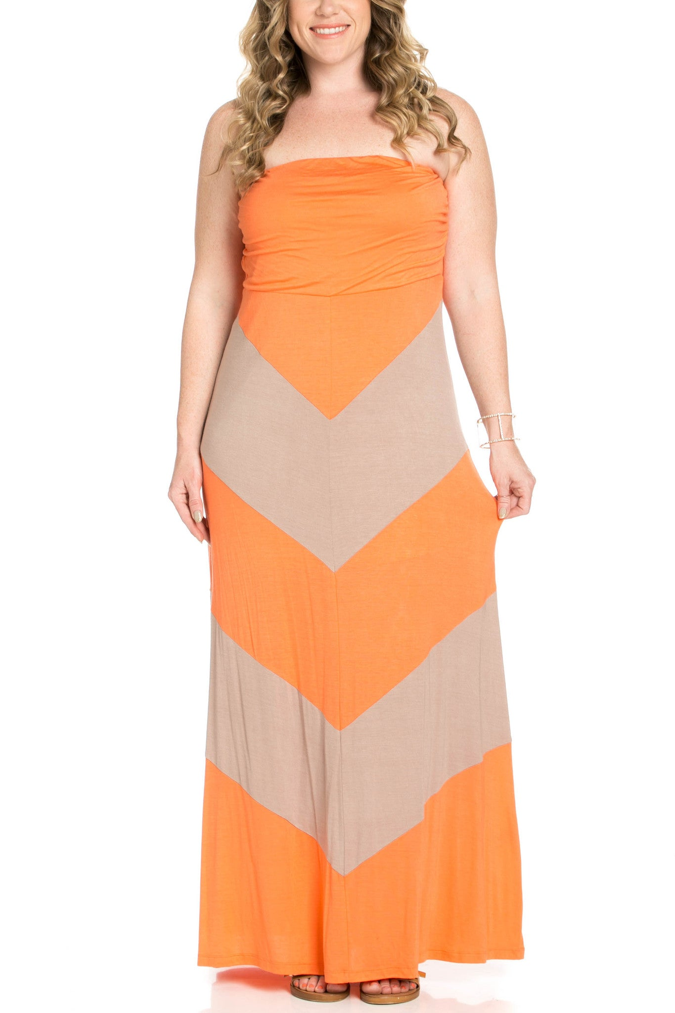 Strapless Long tube Dress Peach/Mocha Cause You're Chevron - Dresses - My Yuccie - 5