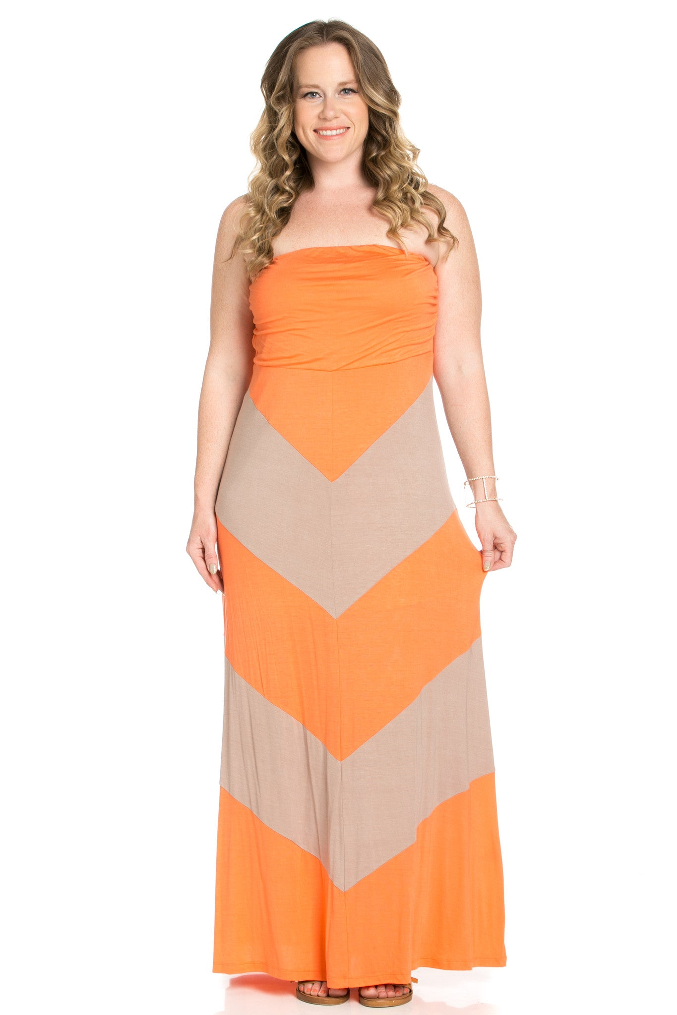 Strapless Long tube Dress Peach/Mocha Cause You're Chevron - Dresses - My Yuccie - 2