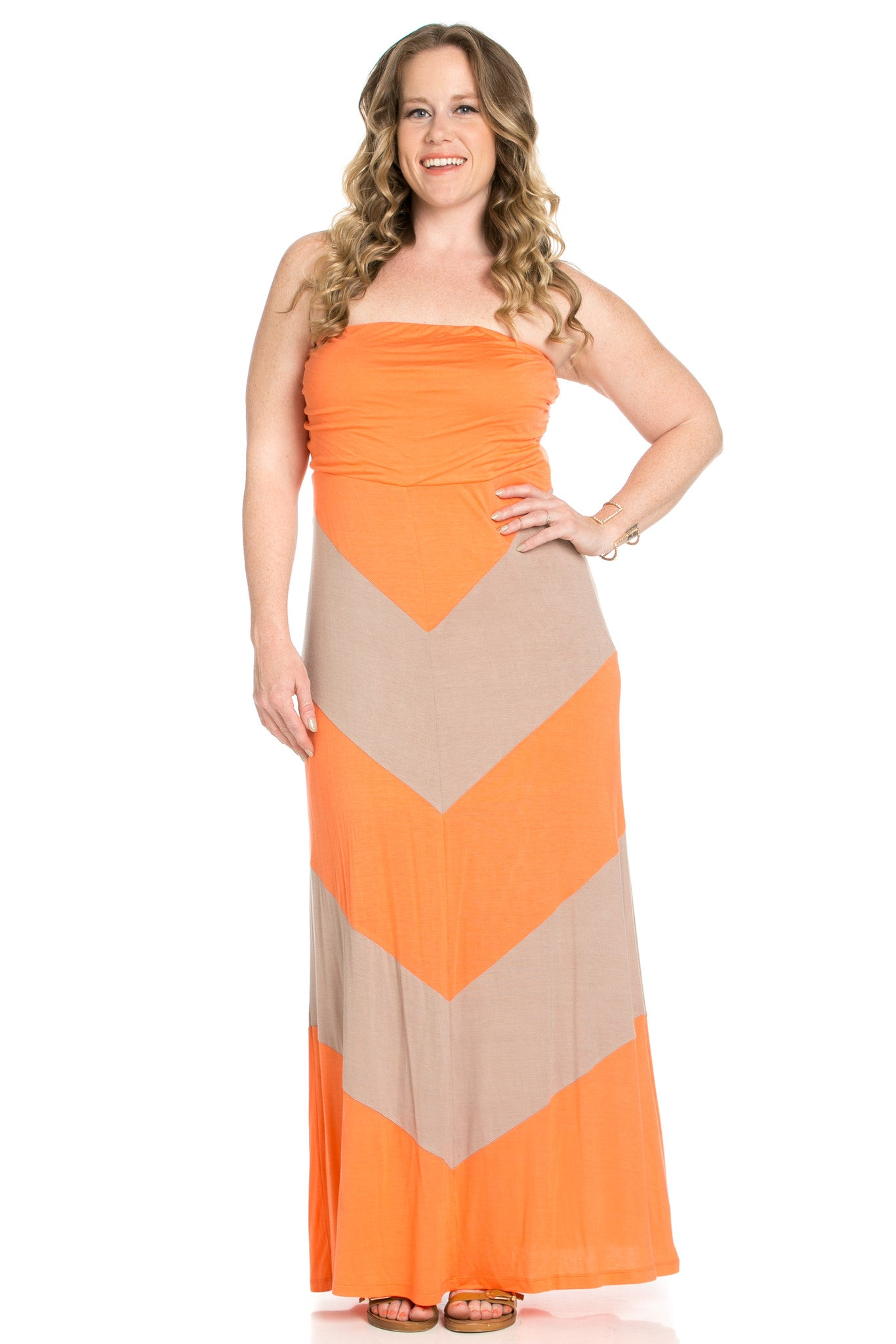 Strapless Long tube Dress Peach/Mocha Cause You're Chevron - Dresses - My Yuccie - 1