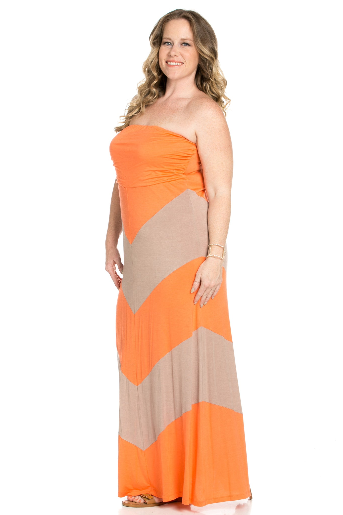 Strapless Long tube Dress Peach/Mocha Cause You're Chevron - Dresses - My Yuccie - 3