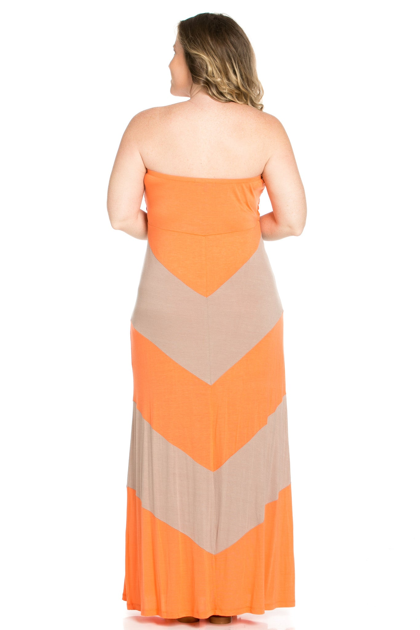 Strapless Long tube Dress Peach/Mocha Cause You're Chevron - Dresses - My Yuccie - 4