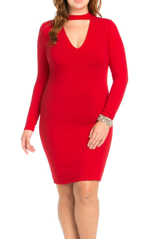 Deep V Neck Choker Plus Size Mini Dress Red - Dresses - My Yuccie